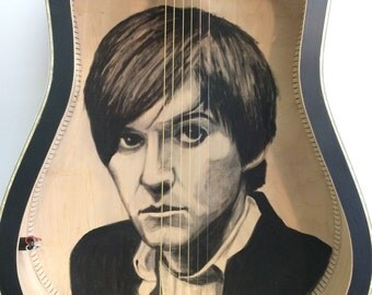 Oberst. Hand painted portrait of Conor Oberst inside recycled acoustic guitar.