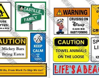 10 Disney Cruise Line Signs Door Magnets - Group N