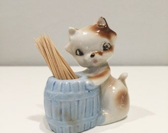 vintage ceramic toothpick holder with cat TOO CUTE