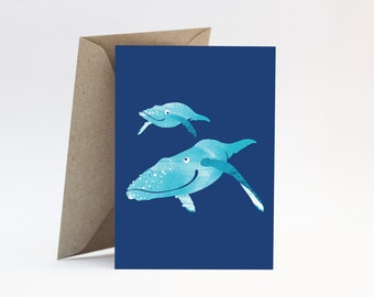 Whales on navy blue card - Congratulations new baby boy or girl, baby shower, newborn, new parents, new mum, pregnancy, Mother's Day