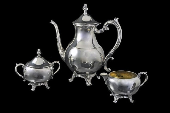 Silver Plated CoffeeTea Set, F B Rogers  2391, Sugar Bowl, Creamer, Coffee Pot, Silver On Copper