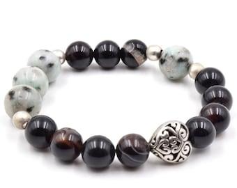 Silver heart stack bracelet, sesame jasper bracelet,black agate bracelet, stretch bracelet, strength, natural stone, gemstone bracelet