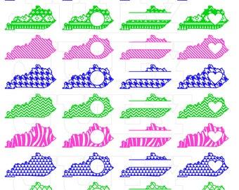 Kentucky SVG Cut Files, Kentucky dxf, Kentucky SVG,  dxf, ai, eps, png, Kentucky Monogram SVG, Kentucky State Shapes,  Monogram State