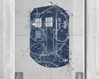 TARDIS poster, Doctor Who poster - Minimalist poster - Home decor poster - TV series poster - High quality print