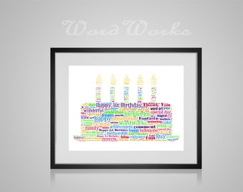 "Personalised Birthday Cake Word Art  **Buy 3 prints get the 4th FREE**  Use coupon code "" MYFREEONE """