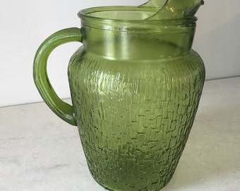 Vintage avocado green pitcher, extremely hard to find in green, pressed glass,  30% off until 4/10