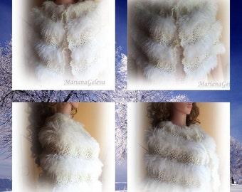 Belle crochet blanc Cache épaules ,étole,capeline ,manteau-écharpe mariage /sur commande