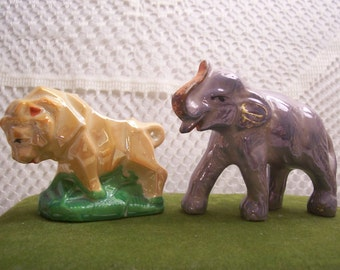 Luster Lion and Elephant Figurines, Japan