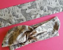 Zebra Headband -  Grey Wire Hair Scarf - Zebra Dolly Bow - Pin Up Style - Made in Sydney