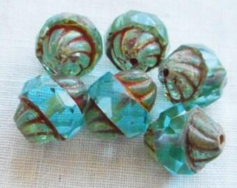 Six 11 x 10mm Czech glass turbine beads, Aqua Blue with a Picasso finish, saturn beads  C80101