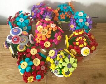 Buttoned Flower Bouquet In Mini Metal Bucket
