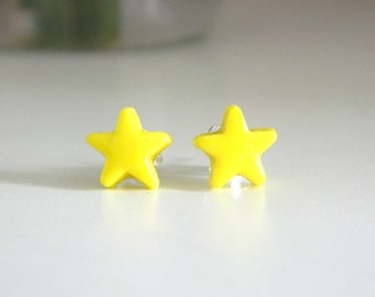 Polymer Clay Yellow Star Earrings