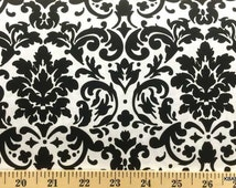Black & White Damask Fabric By the Yard, Half, Fat Quarter By the Yard Black and White Fabric 100% Cotton Quilting Apparel Fabric BTY a3/26