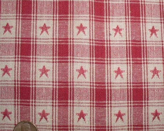 Country Red Star Plaid Homespun Fabric Fat Quarter Half Yard Primitive Country Americana Crafts Cotton Fabric Rag Quilts Patriotic Fabric