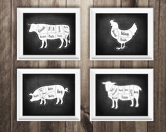 4 Butcher Diagram Prints, Cow, Pig, Lamb, Chicken, Kitchen Print, Butcher Chart, Kitchen Art, Butcher Diagram, Butcher Prints, Cuts of Meat