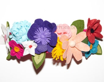 Sweet and Colorful Felt Flower Crown