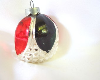 Vintage Christmas Ornament - Silver Bumpy Flower with Dark Red and Green  Christmas Ornament