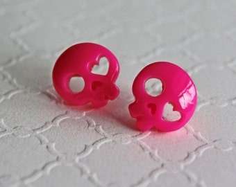 Skull pink earrings. Skull earrings, cute skulls