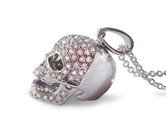 Sterling Silver CZ stones Skull Pendant Necklace