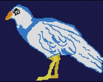 Digital Needlepoint or Cross Stitch Standing Bird