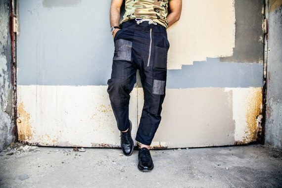 CL hand made cotton and denim joggers