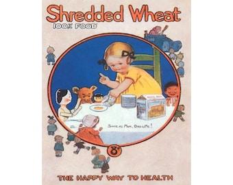 Shredded Wheat - Vintage Advertising Enamel Metal TIN SIGN Wall Plaque