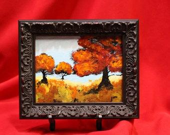 Stocking Stuffer Miniature Fall Landscape Painting, Red Tree Wall Art, Ornate framed Mini Tree Original Wall Art