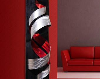 "Modern Abstract Metal Decor Wall Art Sculpture - Red ""Tornado"" by Dustin Miller"