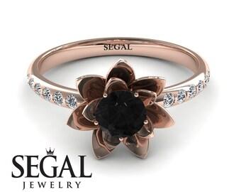 Flower Engagement Ring Rose gold Black Diamond Engagement Ring Nature Inspired Ring Lotus Ring Floral Ring Flower Engagement Ring - Lotus