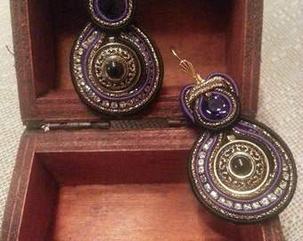 Soutache earrings (soutache earrings) with vintage button