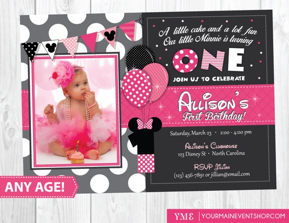 Minnie Mouse Birthday Invitation, Minnie Mouse Inspired Invitation, Minnie Mouse Birthday Party,  Minnie First Birthday Party