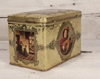 Vintage Tin Box with Lid /  Gerard Dou Box / Shabby Chic Decor / Metal Box Made ine The Netherlands / Finely Made Box / Gift For Her