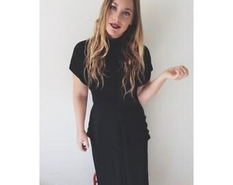 vtg 50's MODERN black SHEER ruffle PEPLUM wiggle dress