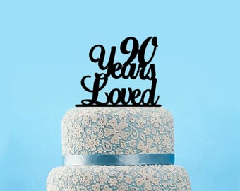 90 Years Loved Cake Topper, Classy 90th Birthday Cake Topper, Happy 90th Cake Topper,Elegant Ninetieth Cake Topper,90 Anniversary Topper