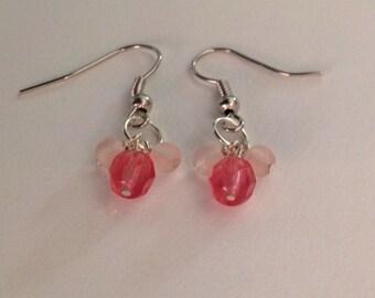 Cherry and Pink Czech Glass Earrings - Pink Earrings - Czech Glass