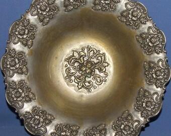 Vintage Floral Brass Footed Bowl