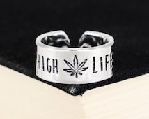High Life - Stoner - Pot Leaf - Aluminum Cuff Ring