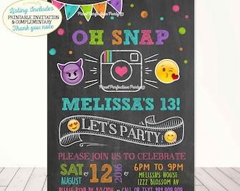 Emoji Birthday Invitation Instagram Birthday Invitation Glam Instagram Party Neon Emoji Party Neon Chalkboard Oh Snap Instagram Party