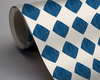 Mexican Diamond Wallpaper in Indigo Blue  Removable Vinyl Wallpaper - Peel & Stick - No Glue, No Mess