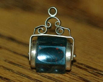 Genuine Vintage Victorian/Edwardian Bloodstone Watch Fob -- Free Shipping