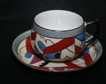 Art Deco Teacup with Saucer, Japan