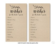 Printable Wishes for the Bride and Groom Template,  Wedding Well Wishes Card, Mad Lib- Instant DOWNLOAD, 4.25 x 7.75, WBG01