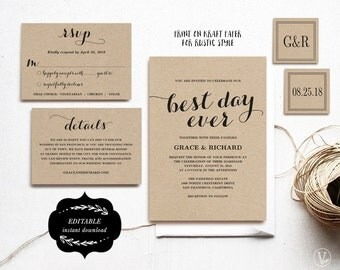 Printable Wedding Invitations Template, DIY Kraft Wedding Invitation, Wedding Invitations, Editable Text, Best Day Ever