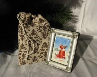 Framed Print of Robins Winter Scene Miniature Watercolor Christmas Decor Ornament