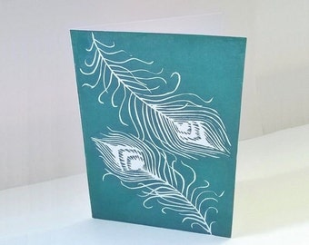 Handmade greeting cards, Peacock feathers, Linocut print, Art cards, Art Nouveau, Birthday card, Wedding card, Green, uk sellers