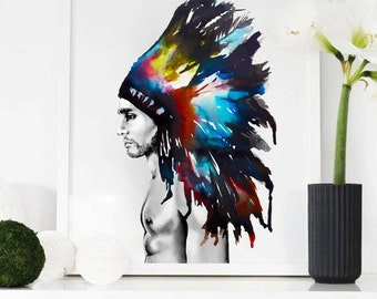 Indian headdress, watercolour, illustration, painting, sketch