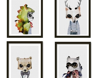 nursery print, woodland animals, animal print, watercolour animal, kids prints, woodland creatures