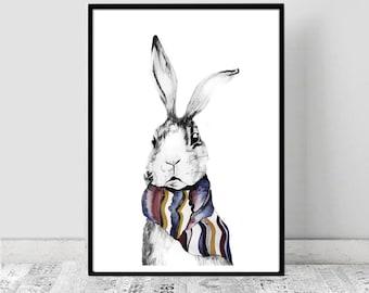 Fox & Rabbit water colour sketch print, Watercolour, illustration, Downloadable