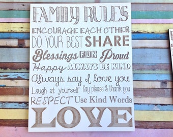 Family rules laser engraved plaque
