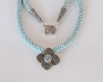 Vintage Sterling Silver Marcasite & Blue Topaz Flower Pendant with Soft Blue Modern Kumihimo Cord